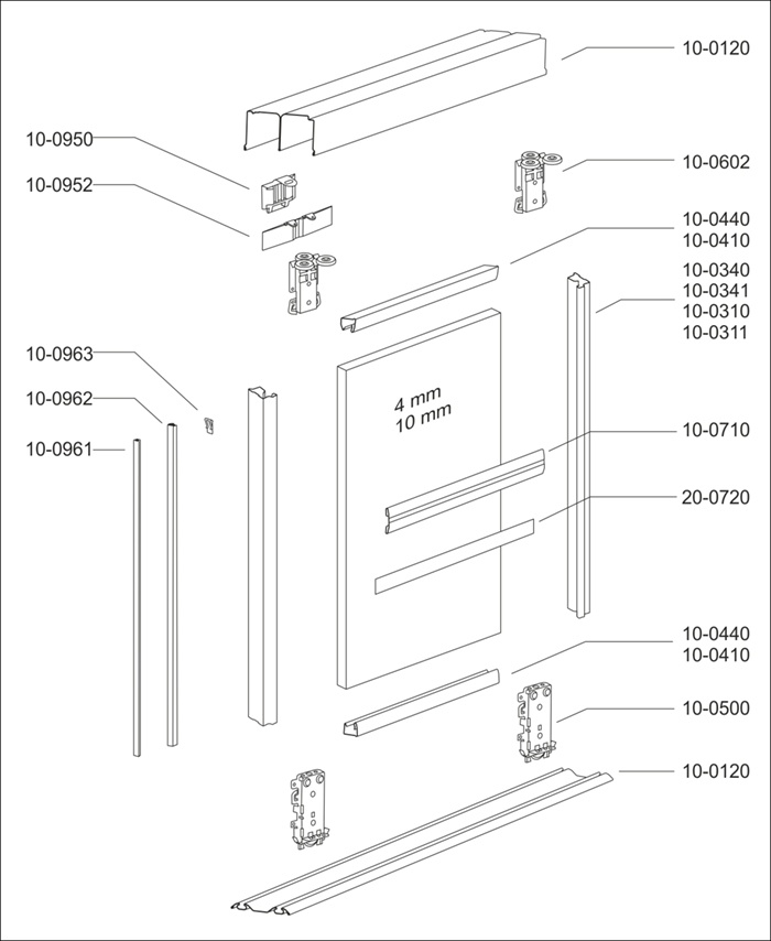 schematic diagram showing Komandor Standard frame system